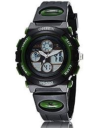 OHSEN analógico Aguja para Boy 's Digital LCD de cuarzo negro dial verde banda de silicona reloj–FECHA DÍA alarma