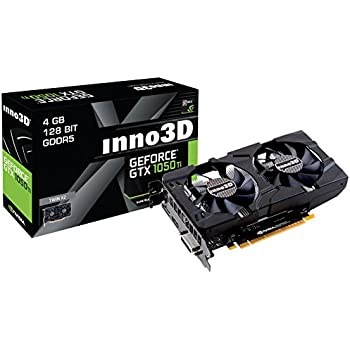 Inno3D GeForce GTX 1050 Ti TWIN X2 Scheda Grafica 4GB GDDR5, 128 bit, 7680 x 4320 pixels, PCI Express x16 3.0