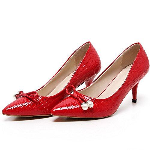 AgooLar Femme Pointu Tire à Talon Haut Pu Cuir Couleur Unie Chaussures Légeres Rouge