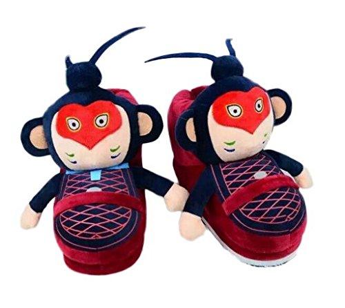 Bigood Chinesisch Affenkönig Form Haus Schuhen Warm Hausschuhen für 34-39Size Rot