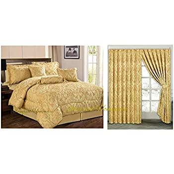 a bed floral black in comforter size jacquard matching slp gold set queen sets bag with amazon curtains com