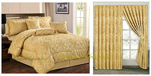 Imperial stanze in jacquard 7pezzo letto con tende coordinate copriletti comforter set arredamento camera da letto–(ruby king/oro/90x 90) di alta qualità set letto guanciale