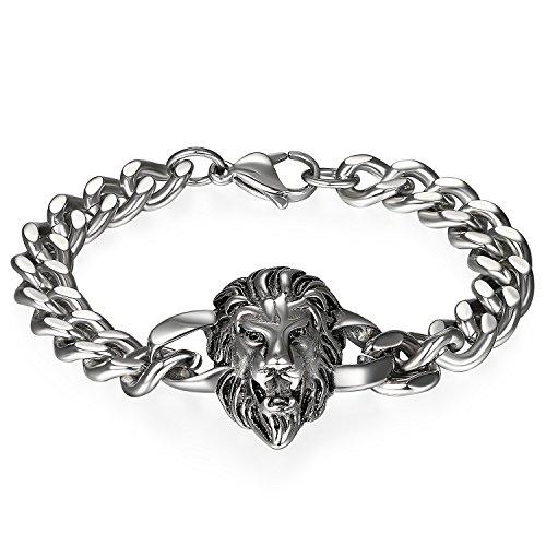 JewelryWe Schmuck Herren Biker Armband, Gotik Punk Rock Löwe Panzerkette Armkette Armreif,...