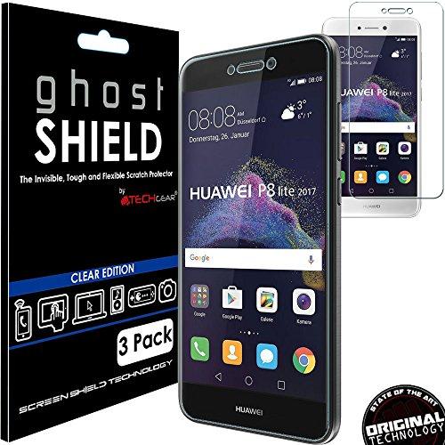 TECHGEAR [3 Stück Bildschirmschutz Kompatibel mit Huawei P8 Lite 2017 - [ghostshield] Genuine verstärkte TPU Bildschirmschutzfolie Guard mit Gesamte Display Deckung inkl. Gebogener Bereich