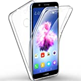 Leathlux Custodia Huawei P Smart Cover Trasparente Silicone Fronte e Retro Plastica, Protezione Completa Morbido TPU Anteriore e Posteriore di Duro PC Shell Cover per Huawei P Smart/Enjoy 7S 5.65