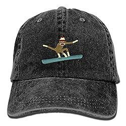 KKAIYA Sock Monkey Snowboarder Vintage Washed Dyed Cotton Twill Low Profile Adjustable Baseball Cap Natural