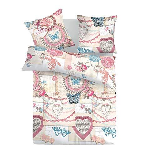 SoulBedroom Vintage Love 100% Coton Parure de Lit (Housse de Couette 200x200 cm & 2 Taies d'oreiller 50x75 cm)