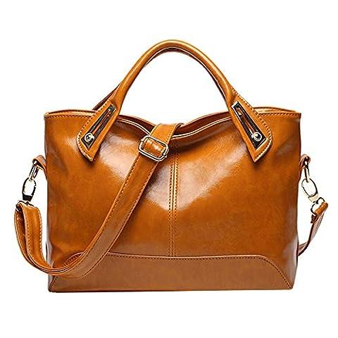 Lady Fashion Pu-leder Handtaschen Umhängetaschen Schultasche Tragetaschen Für Frauen,Yellow-M