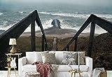 Vlies Fototapete Fotomural - Wandbild - Tapete - Meer Holztreppe Dock - Thema Strand und Küste - L - 254cm x 184cm (BxH) - 2 Teilig - Gedrückt auf 130gsm Vlies - 1X-1079868V4