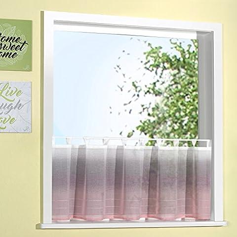 Scheibengardine heimtexland ® in natürlicher Batist-Optik 50x140 cm mit Schlaufen in rosa Farbverlauf verziert mit edlen Webstreifen ÖKOTEX Panneau Gardine