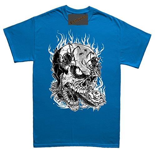 Renowned Pirate Skull with spiders surrounding Herren T Shirt Blau