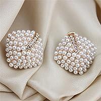 Wrone (TM) Donne Stud modo di stile di OL orecchini di perla Rhombus cristallo strass 7 - Stile Cristallo Perla