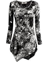 DJT T-Shirt Manches longues Hauts Col V Tie-dye Femme