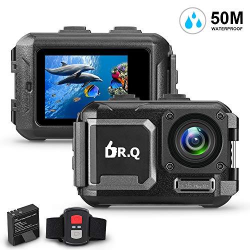 DR.Q Action Kamera 4K 16MP WiFi Ultra HD Sport Kamera 50M Unterwasser Wasserdichte Kamera ohne Gehäuse (2018 aktualisiert) Weitwinkel Objektiv Camcorder mit Sony-Sensor, Fernbedienung, aktualisierte Batterie und Montage Zubehör-Kit