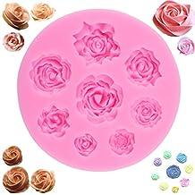 Moldes para hornear hechos a mano de silicona con forma de rosa 3D - Flor Fondant