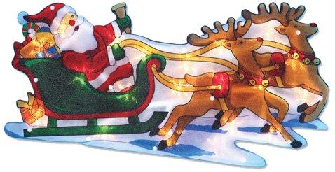 The Benross Christmas Workshop Nikolaus auf Schlitten, LED-beleuchtet, Metallic-Silhouette