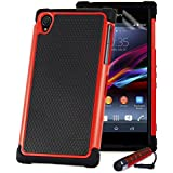 32nd® Shock proof rubber case cover for Sony Xperia Z (L36H) + screen protector, cleaning cloth and touch stylus - Red