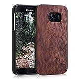 kwmobile Funda dura de madera palo de rosa para Samsung Galaxy S7 Carcasa protectora de móvil en marrón