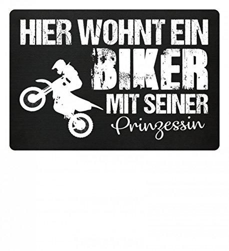 SwayShirt Hochwertige Fußmatte - Hier wohnt ein Biker mit seiner Prinzessin Geschenk Schutzmatte, 40x60 cm (Altes Ehepaar Kostüm)