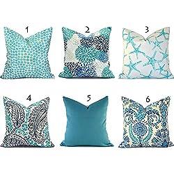 Alicert5II Oreillers Extérieur Housse de Coussin Décoratif Taie d'oreiller Turquoise Extérieur Bleu Turquoise