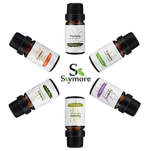Skymore Kit Huile Essentielle Naturel 6Pcs, Essential Oil Pour Aromathérapie Humidificateurs, 100% Pure & Natural Premium, Therapeutic Grade---Eucalyptus, Citron, Lavande, Tea Tree, Menthe, Orange, Parfait Pour Cadeau