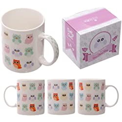 Lauren Billingham Dotty Búhos hueso taza de China