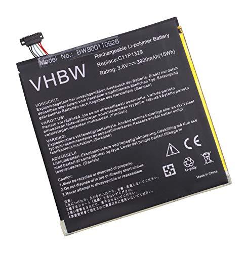 vhbw Li-Polymer Batterie 3900mAh (3.8V) pour Tablette, Netbook ASUS MeMo Pad 8, 8 ME181A, 8 ME181C, 8 ME181CX comme C11P1329, C11-P1329.