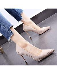 HOESCZS Elegantes Zapatos de Mujer 2019 Primavera nuevos Puntiagudos Moda Stiletto Tacones Boca Baja Solo Zapatos
