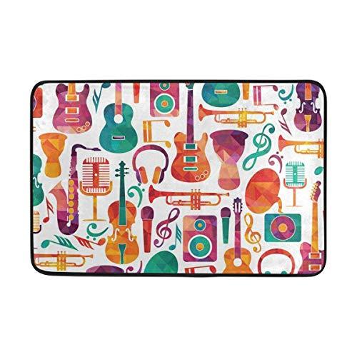 ea05ad457de82 LINGVYTE Colorful Music Guitar Headset Musical Instruments Doormat Entrance  Mat Floor Mat Rug Non Slip Bathroom Mats (23.6