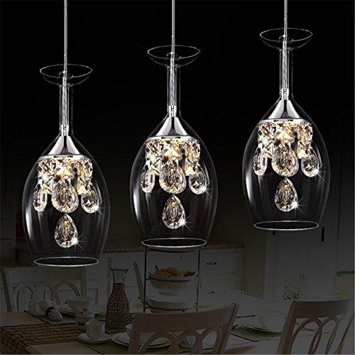 Moderne Verre à vin rouge Cristal design minimaliste salon chambre mode personnalité créative Lampe suspension Lustre, intensité variable Lumière chaude + lumière froide LED inclure Ampoules