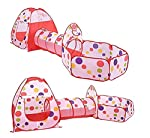 3-in-1 Folding Kids Play Tent with Tunnel, Ball Pit and Zippered Storage Bag