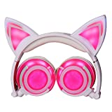Cat Ohr-Kopfhörer,Sopear Cute Folding Cat Ear Kopfhörer Ohrhörer Headset Glowing Lights mit USB Ladekabel für die meisten Smartphones Tablet-Laptop Pink