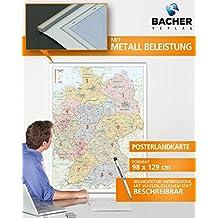 Postleitzahlenkarte Deutschland, 1:700 000, folienbeschichtet, inkl. Metallbeleistung
