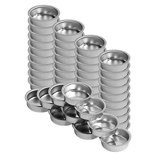 Teelichthalter silbern 40mm tief - Teelicht Tülle für Standard Teelichtkerzen, Größe:50er Set