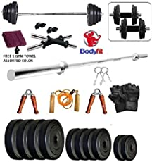 Bodyfit 30KG 3Ft Plain Rod Home Gym Fitness Kit