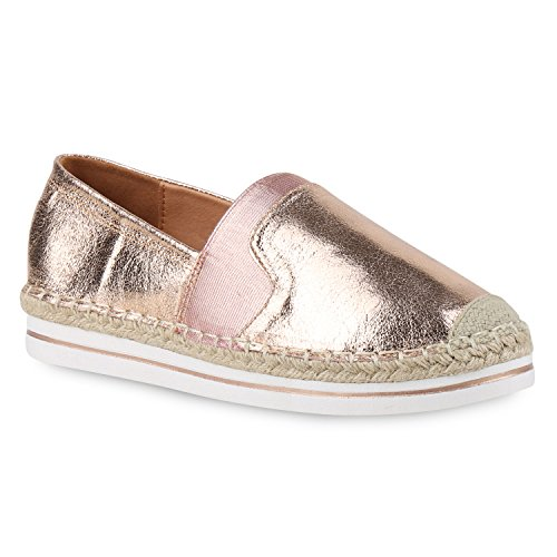 Damen Espadrilles Metallic SlipperBast Flats Freizeit Glitzer Prints Spitze Schuhe 132449 Rose Gold Metallic Bast 39 Flandell