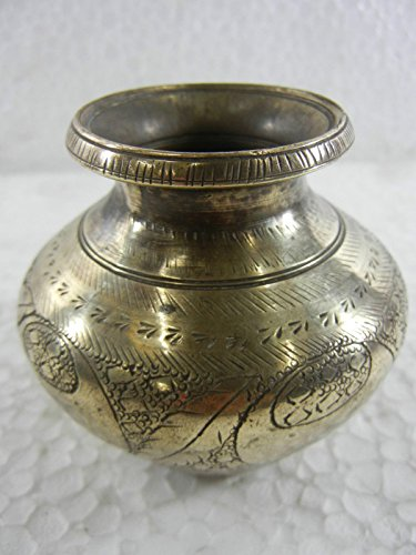 Old Hand Engraved & Chrome Plated Brass Holy Water Pot