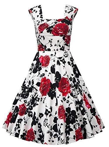 MisShow Robe de Cocktail Soirée Vintage Femme pour Mariage Imprimée Florale Robe Femme Courte Grande Taille Rouge 4XL