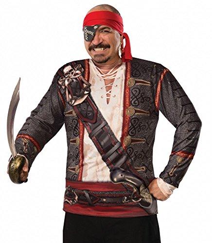 shoperama Fotorealistisches Langarm Shirt für Herren-Kostüm Pirat Gr. L Piratenkostüm Longsleeve