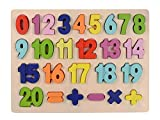 Afunti - Puzzle in Legno con Numeri da 1 a 20, Lettere Grandi e dai Colori Vivaci, educativo, per Imparare la Scuola Materna, Giocattolo per Bambini