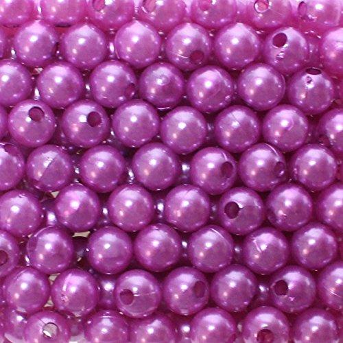 250 x Kunstperle 8mm in praktischer Plastikdisplaybox Perlen Wachsperlen Dekoperlen Bastelperlen mit Loch Kunstperlen, Farbe:lila