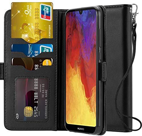 Ferilinso Hülle für Huawei Y6 Pro 2019 / Huawei Y6 2019 / Honor 8A, Elegantes Echtes Leder mit ID Kreditkarten-Slots Halter Flip Cover Stand Magnetic Closure Case (Schwarz) -