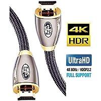 IBRA Cavo HDMI 4K Ultra HD 2M - Ethernet ad Alta Velocità Cavo 2.0b 18 Gbps 4K@60Hz UHD 2160p - PRO GOLD RED