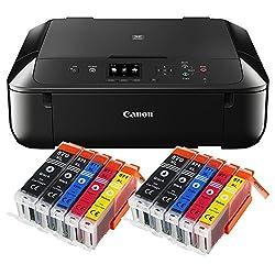 Canon Pixma MG5750 MG-5750 All-in-One Farbtintenstrahl-Multifunktionsgerät (Drucker, Scanner, Kopierer, USB, WLAN, Apple AirPrint) schwarz + 10er Set IC-Office XL Tintenpatronen 570XL 571XL