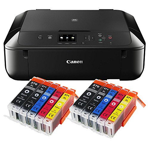Canon Pixma MG5750 MG-5750 All-in-One Farbtintenstrahl-Multifunktionsgerät (Drucker, Scanner, Kopierer, USB, WLAN, Apple AirPrint) schwarz + 10er Set IC-Office XL Tintenpatronen 570XL 571XL