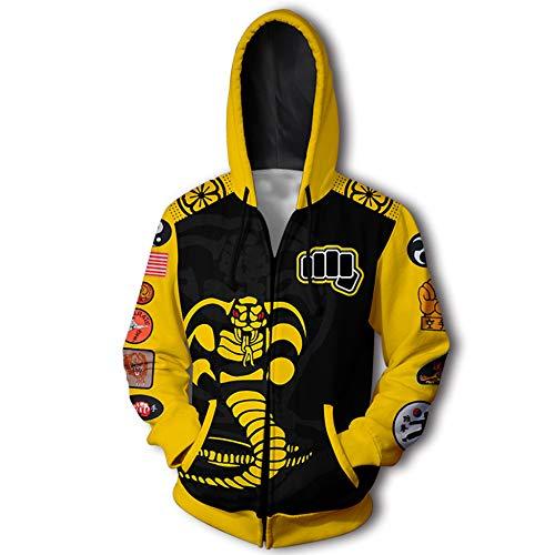 Cobra Kostüm Kai Xl - RJHWY 3D Hoodie Sweatshirt Unisex Pullover Kapuzenjacke Kleidung Mantel Reißverschluss Anime Top Cobra Kai XL