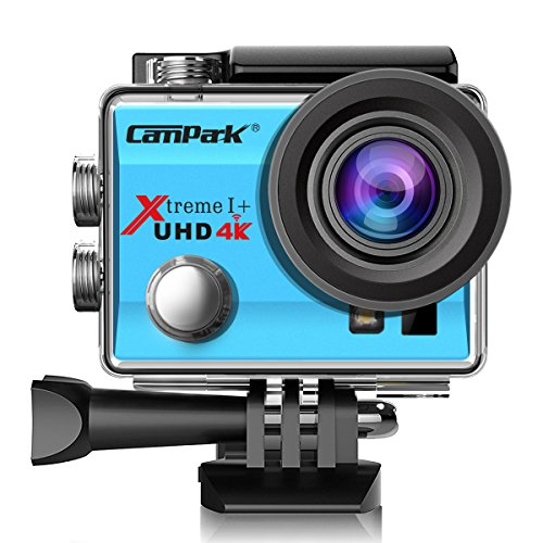 Campark ACT74 Action Kamera WIFI 1080P Sports Cam 4K Camera 16MP Ultra Full HD Helmkamera wasserdicht 170 ° Weitwinkel mit 2 Batterien Transporttasch (Blau)