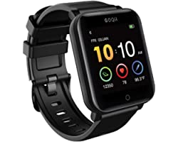GOQii Smart Vital Fitness SpO2, body temperature and blood pressure smartwatch regular with 3 months personal Coaching, Black