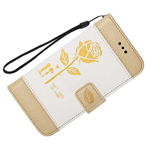EKINHUI Case Cover Dual Color Matching Premium PU Leder Flip Stand Case Cover mit Card Cash Slots und Lanyard für Samsung Galaxy J510 ( Color : Gold ) White