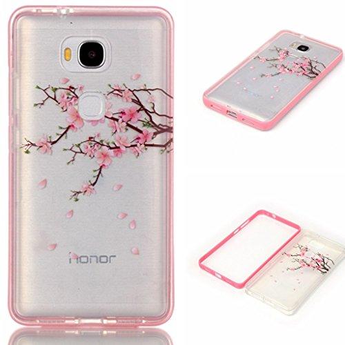 Per Huawei Honor 5X / Honor X5 / Huawei GR5 Custodia Case, LEMORRY Pink Floral 2in1 [Assorbimento urti] Ultra Morbido TPU Silicone & Duro PC Armatura Frame Slim Thin Leggero Trasparente Protettivo Skin Cover Shell